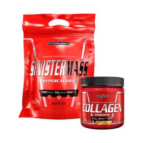 COMBO INTEGRALMEDICA - Sinister Mass 3Kg + Collagen Powder - Tangerina - 300g Morango