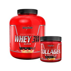 COMBO INTEGRALMEDICA - Whey 3W 1,8Kg + Collagen Pownder Tangerina 300g Whey 3w Morango + Collagen Powder - tangerina