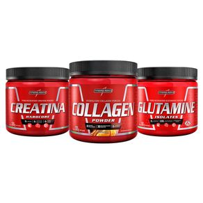 COMBO INTEGRALMEDICA - Creatina 300G + Glutamine Natural 300G + Collagen Pownder Tangerina 300g